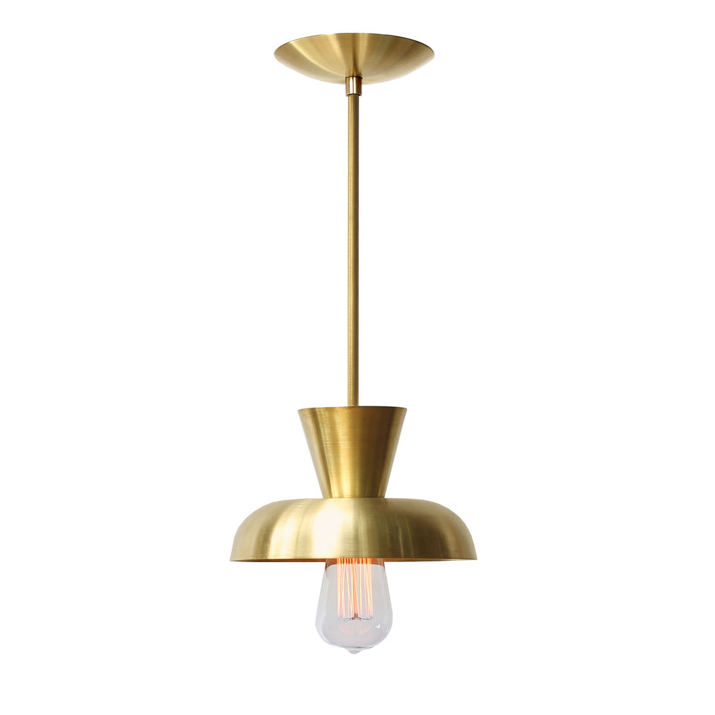 Isle Rod Pendant. Shown in Brass Finish. (Edison light bulb shown, not included).Cedar and Moss.