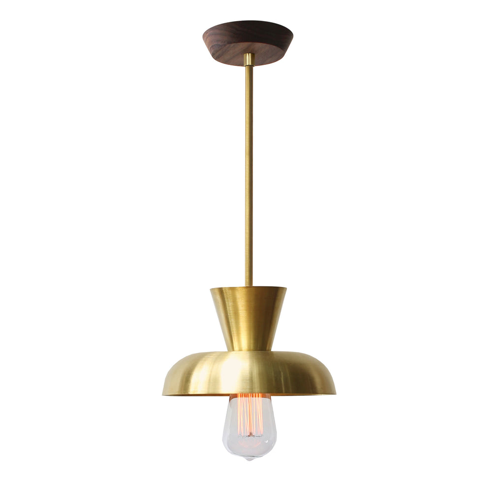 Isle Rod Pendant. Shown in Brass finish with Walnut wood canopy. (Edison light bulb shown, not included).Cedar and Moss.