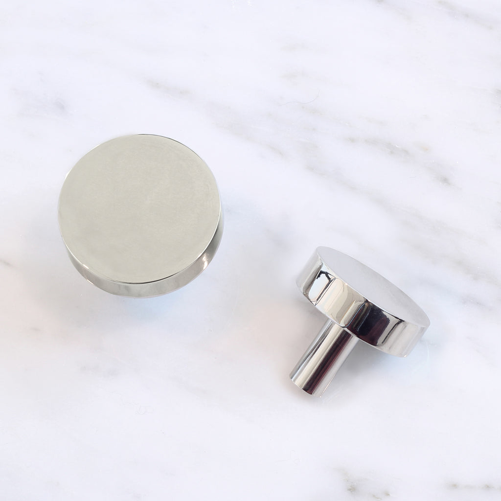Cedar and Moss. Jane Hardware Knob. Shown in Polished Nickel Finish.
