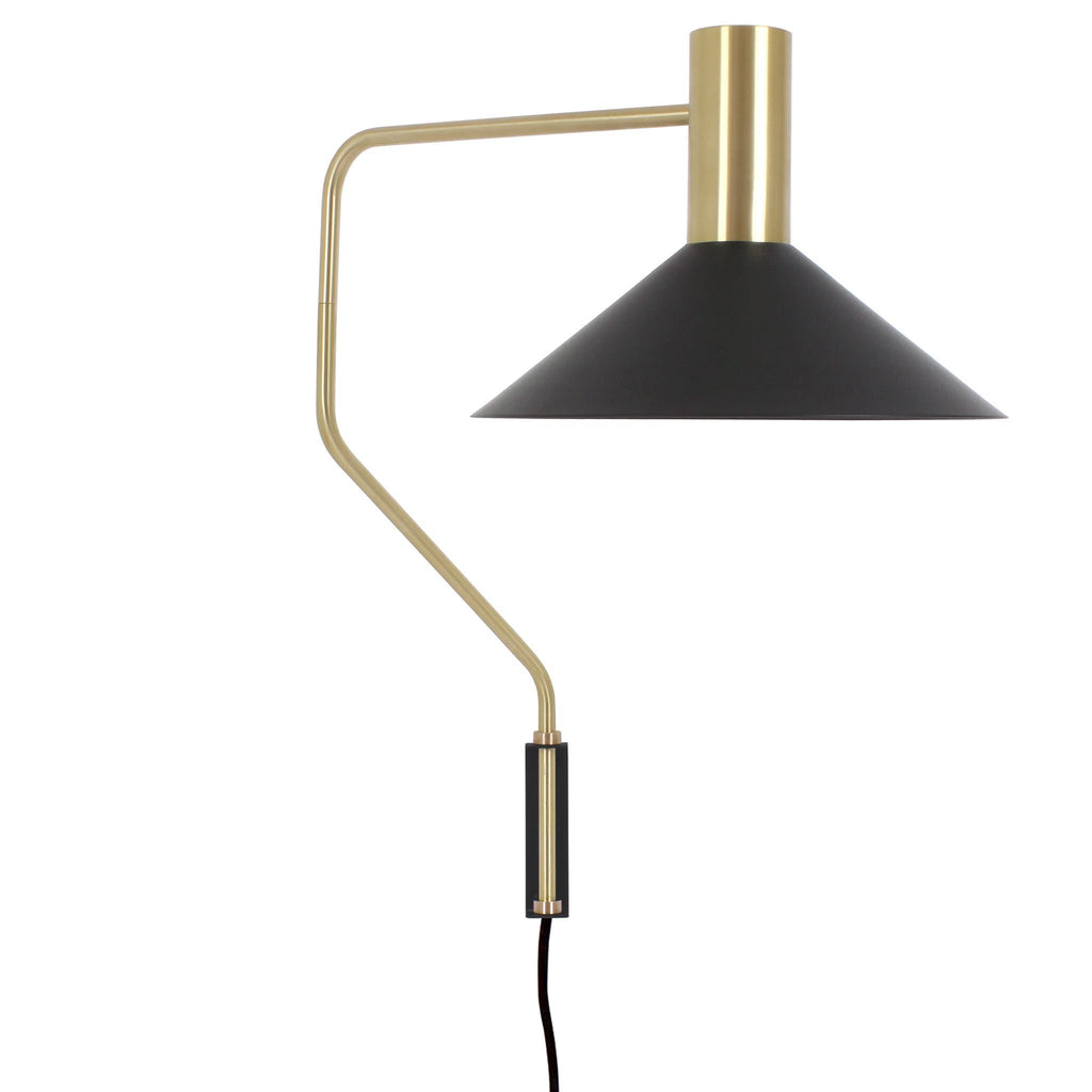 Cedar and Moss. Juniper Corded Wall Sconce. Shown in Matte Black and Brass finish.