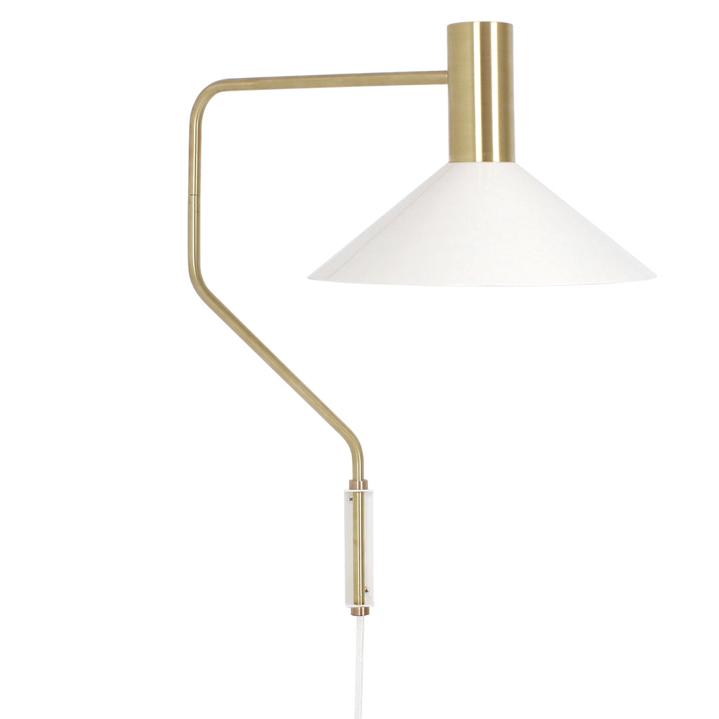 Cedar and Moss. Juniper Corded Wall Sconce. Shown in White and Brass finish.