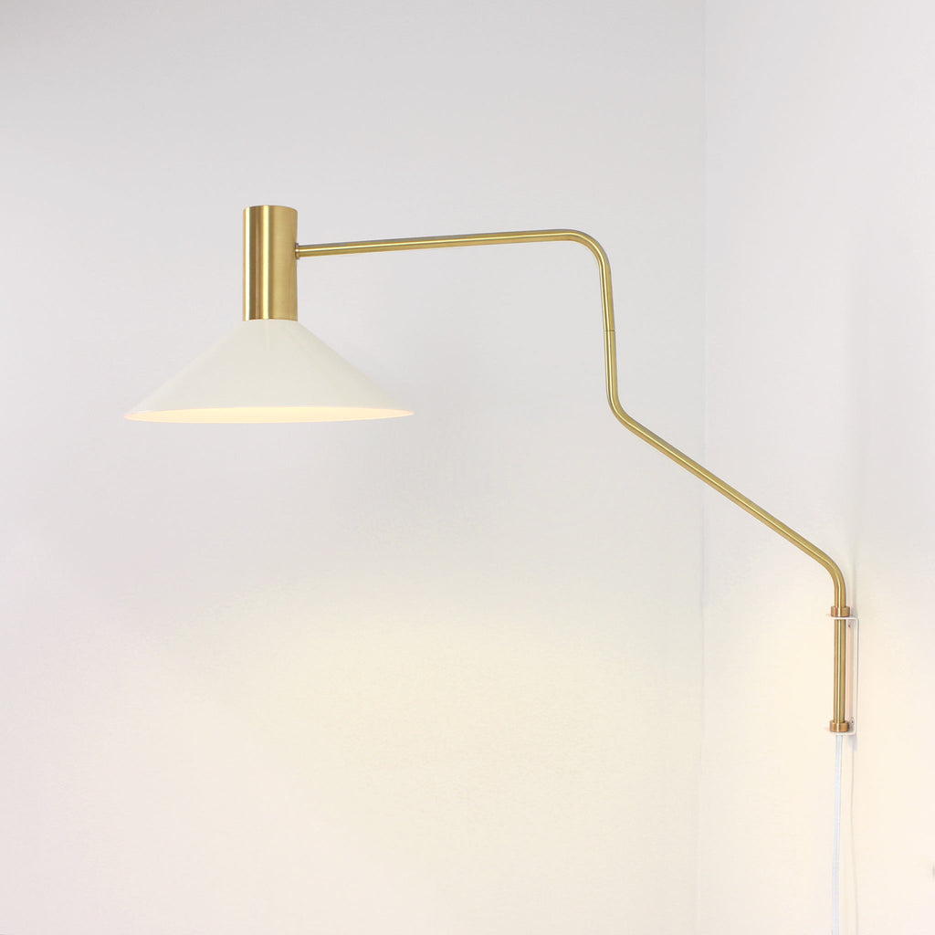 Juniper Corded Wall Sconce. Shown in White and Brass finish. Cedar and Moss.