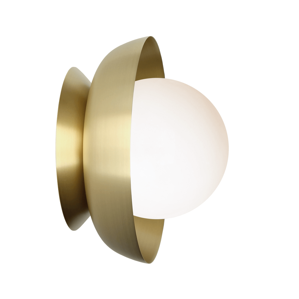Lexi Surface or Sconce. Shown in Brass finish with Matte Opal glass. Cedar and Moss.