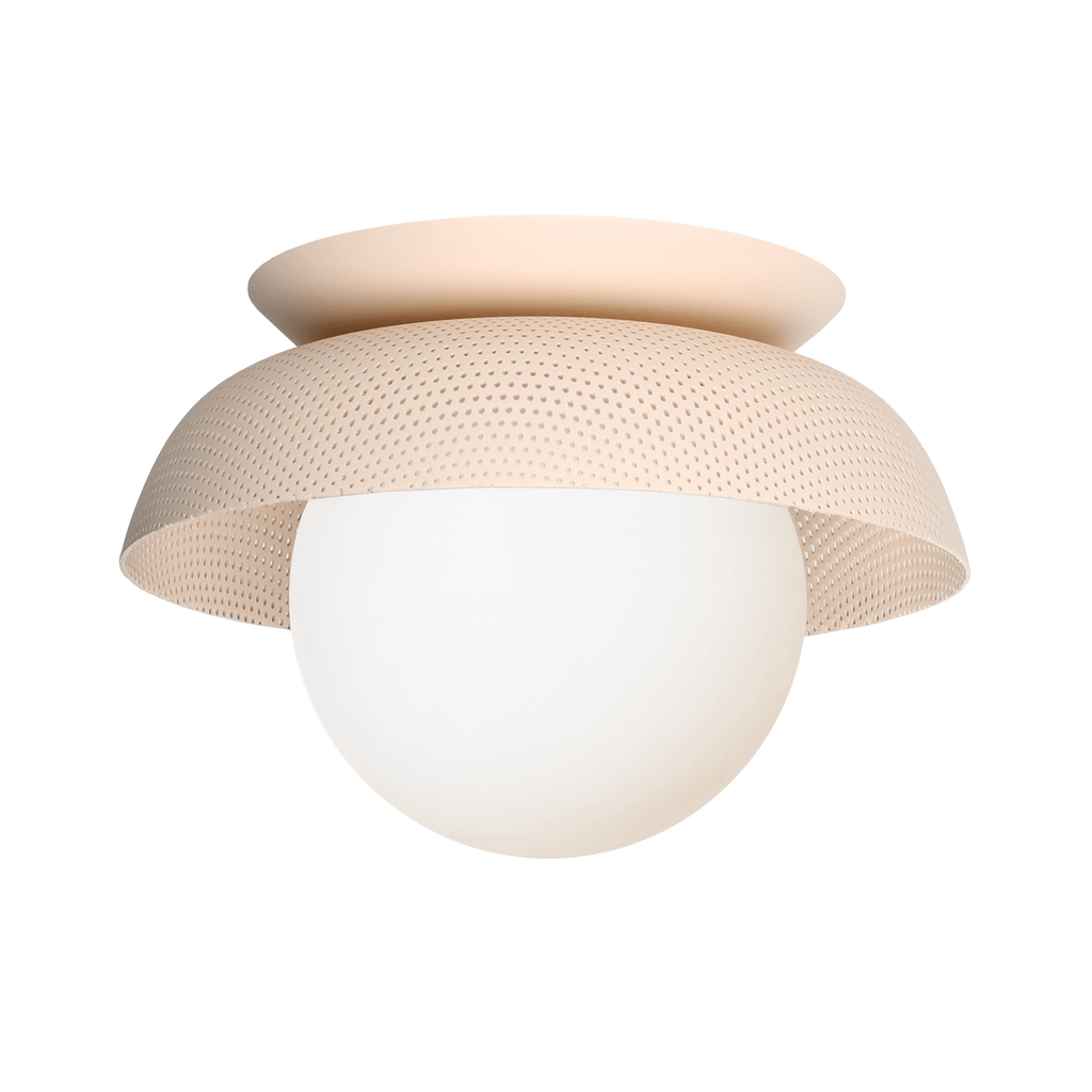 Lexi Surface or Sconce. Shown in Blush finish with Matte Opal glass. Cedar and Moss.