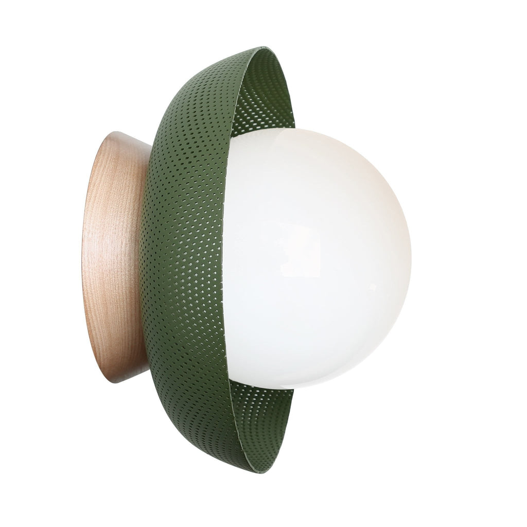 Lexi Surface or Sconce. Shown in Secret Garden Green finish with Birch wooden canopy upgrade and Matte Opal glass. Cedar and Moss.