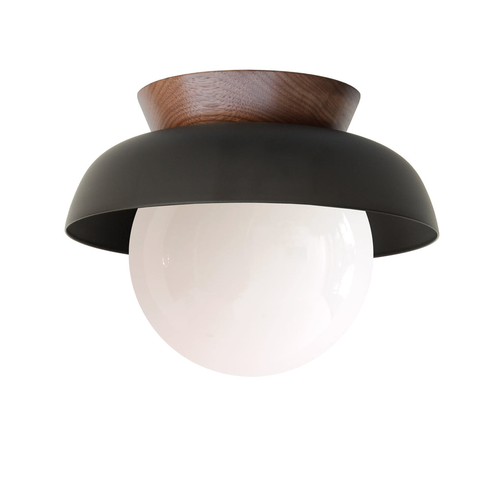 Lexi Surface or Sconce. Shown in Matte Black finish (solid shade option) and Walnut Canopy with Opal glass. Cedar and Moss.