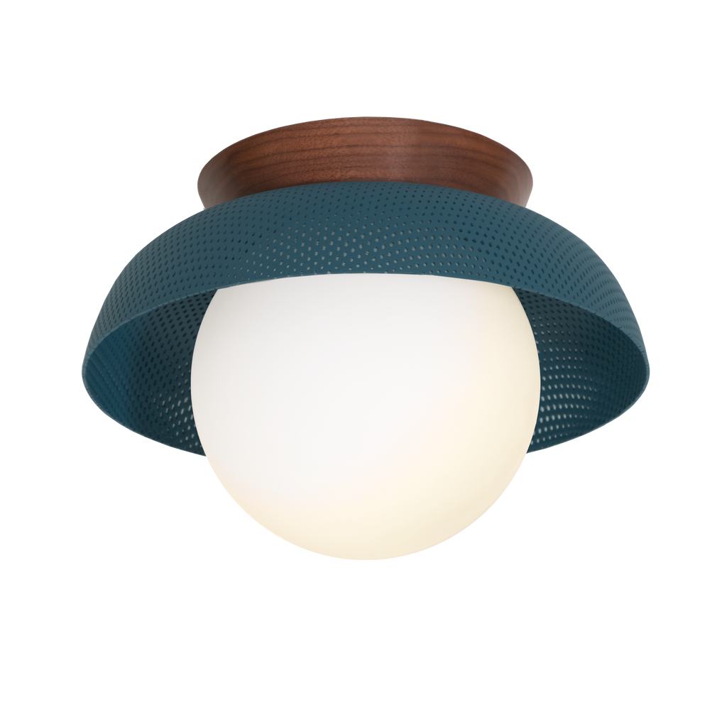 Lexi Surface or Sconce. Shown in Ocean Blue finish with Walnut canopy upgrade and Matte Opal glass. Cedar and Moss.