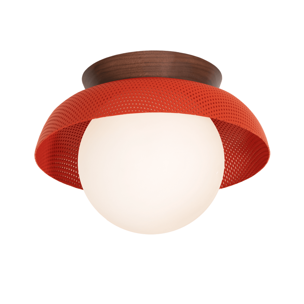 Lexi Sconce in Persimmon finish with Walnut wood canopy. Cedar and Moss.