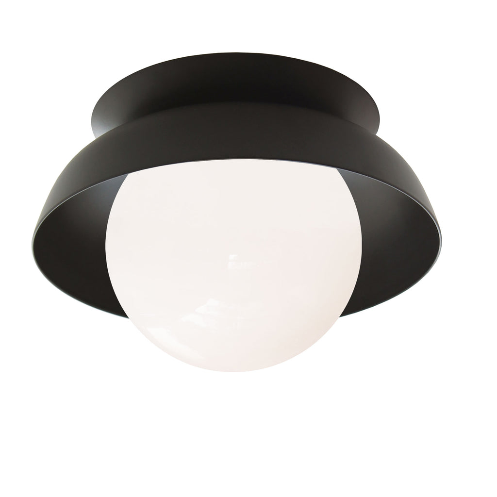 Lexi Surface or Sconce. Shown in Matte Black finish (solid shade option) with Opal glass. Cedar and Moss.