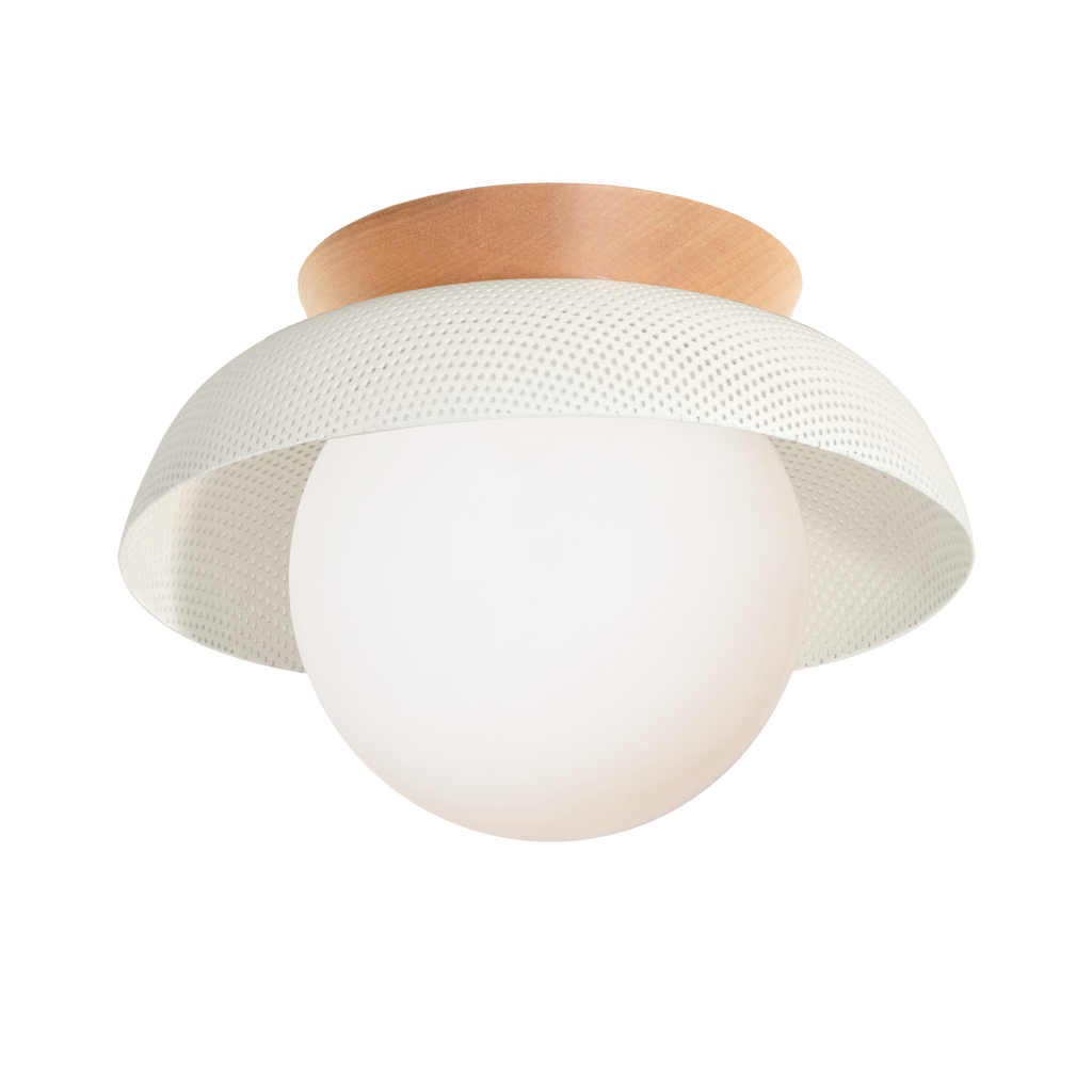 Lexi Surface or Sconce. Shown in White finish with Maple canopy upgrade and Matte Opal glass. Cedar and Moss.