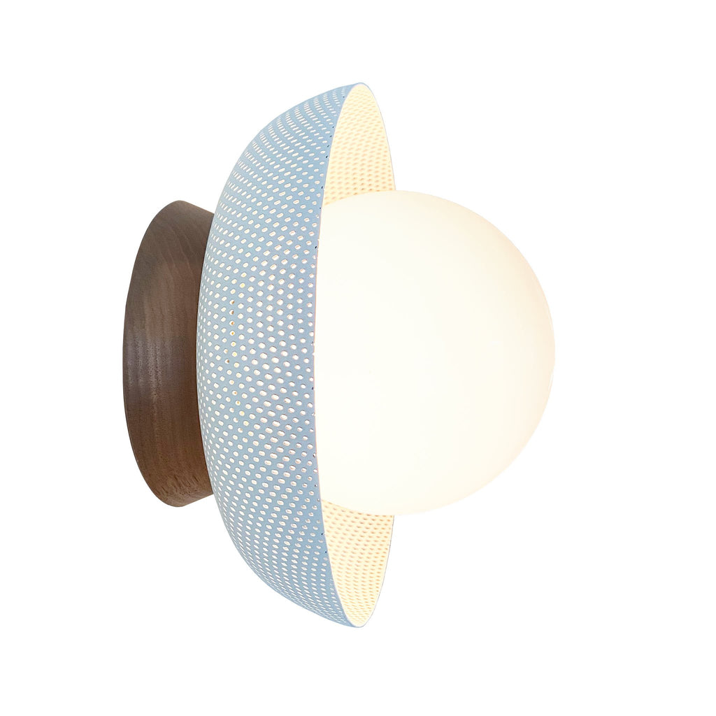 "Lexi Surface or Sconce. Shown in White finish with Walnut canopy upgrade and 5"" Opal glass. Cedar and Moss."