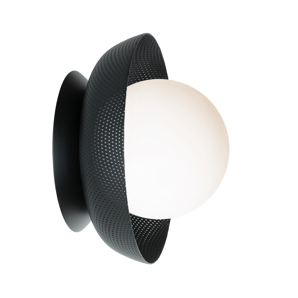 Lexi Surface or Sconce. Shown in Matte Black finish with Matte Opal glass. Cedar and Moss.