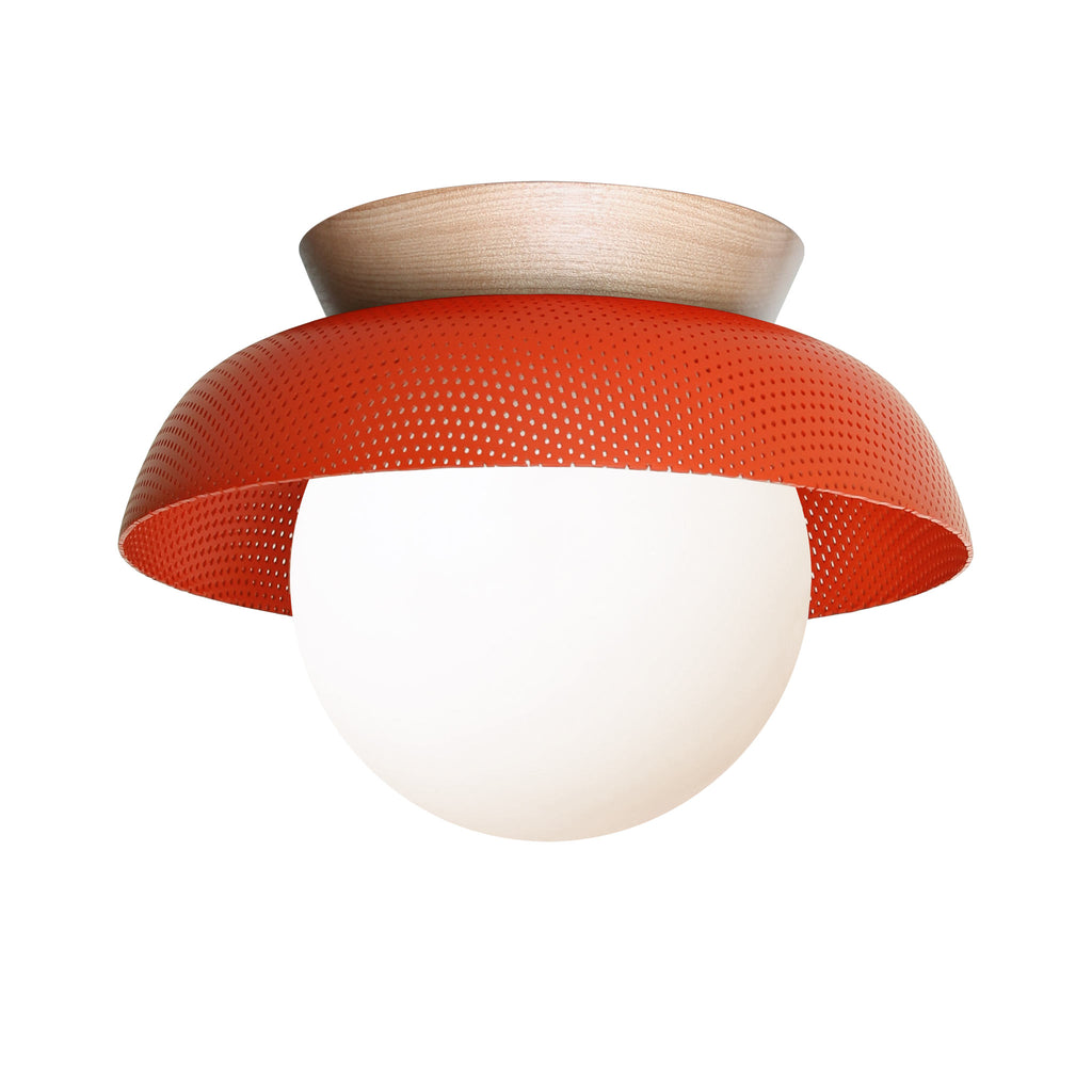 Lexi Surface or Sconce. Shown in Persimmon + Maple Wood finish with Matte Opal Glass. Cedar and Moss.