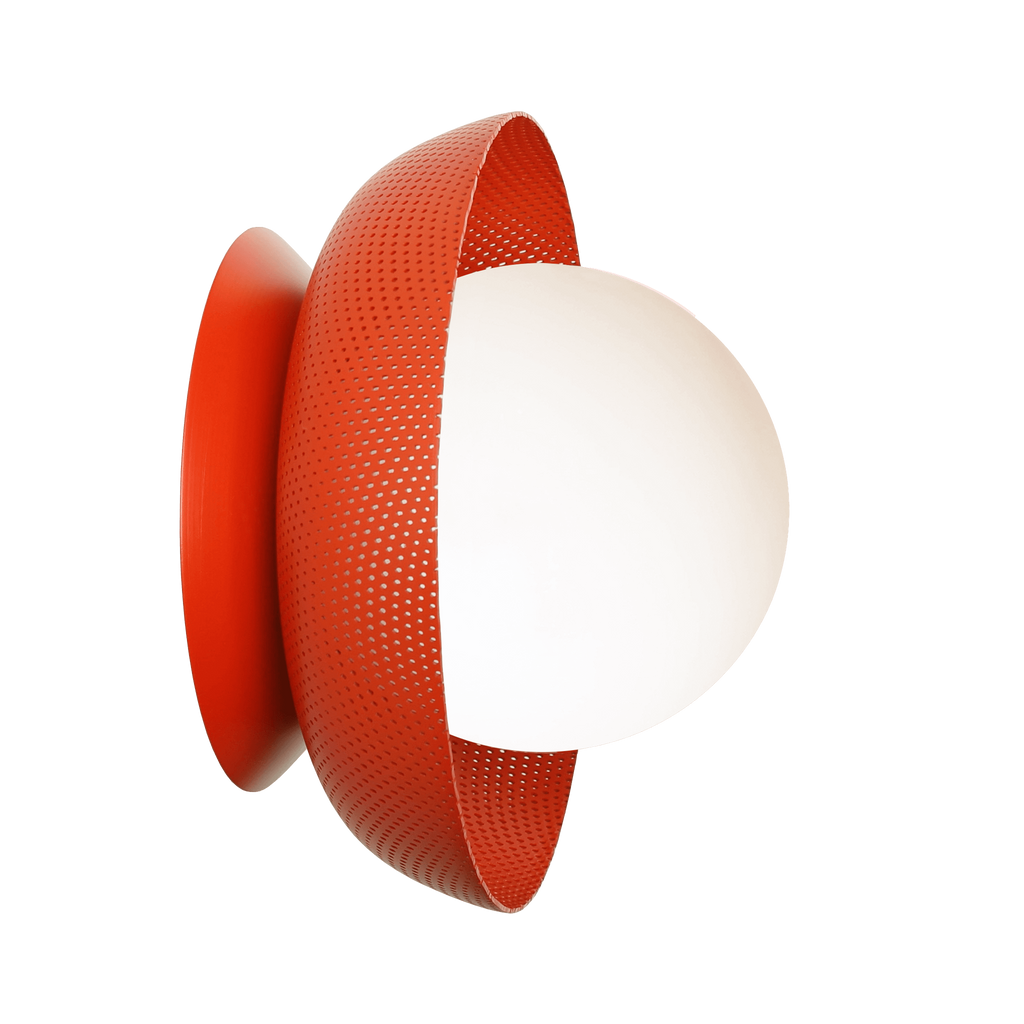 Lexi Surface or Sconce. Shown in Persimmon finish with Matte Opal glass. Cedar and Moss.