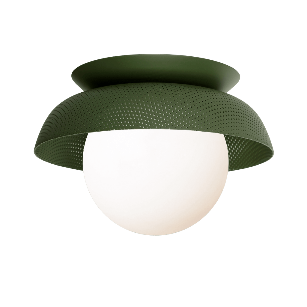 Lexi Surface or Sconce. Shown in Secret Garden Green finish with Matte Opal glass. Cedar and Moss.