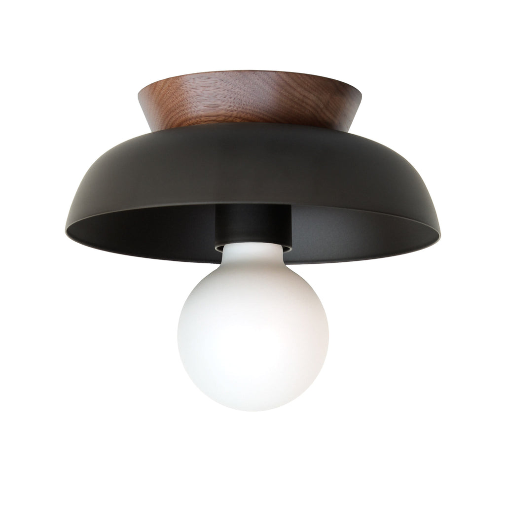 Cedar and Moss. Lucia Surface or Sconce. Shown in Matte Black Finish with Walnut wood canopy. (G25 Tala light bulb shown, not included).