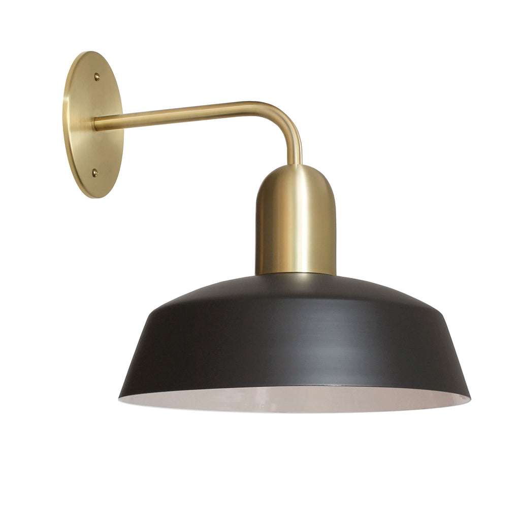 "Meadowlark Luxe Sconce. Shown with 11"" Shade in Matte Black + Brass Finish. Cedar and Moss."
