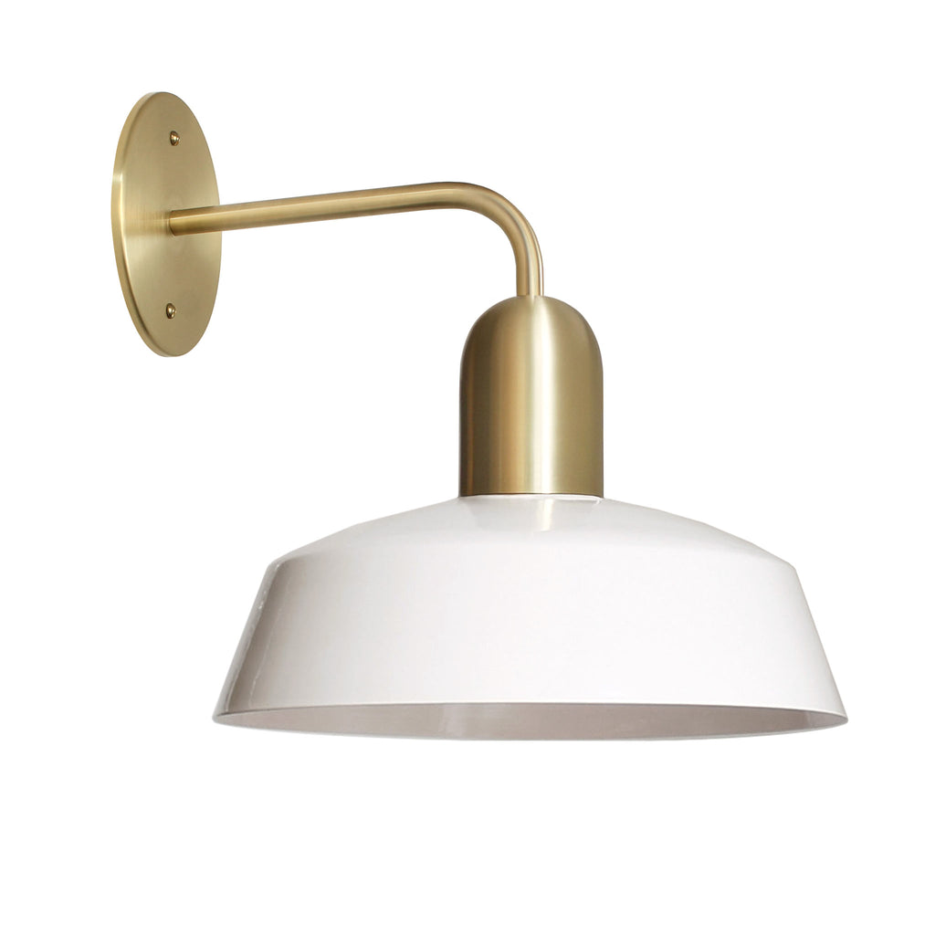 "Meadowlark Luxe Sconce. Shown with 11"" Shade in White + Brass Finish. Cedar and Moss."