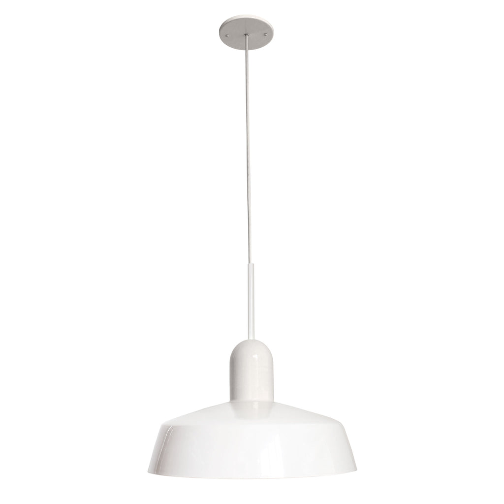 "Meadowlark 16"" Luxe Cord Pendant. Shown in White finish. Cedar and Moss."