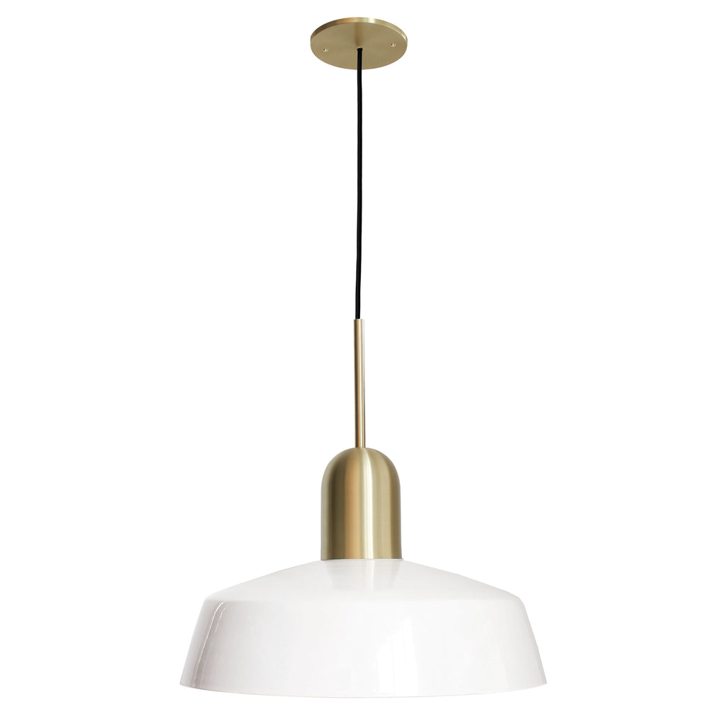 "Meadowlark 16"" Luxe Cord Pendant. Shown in White and Brass finish. Cedar and Moss."