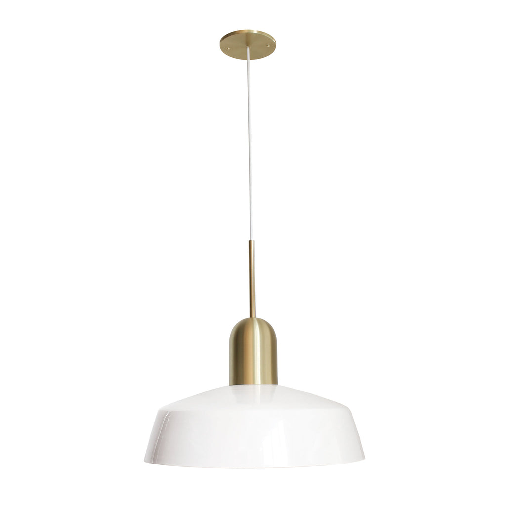 "Cedar and Moss. Meadowlark 16"" Luxe Cord Pendant. Shown in White and Brass finish."