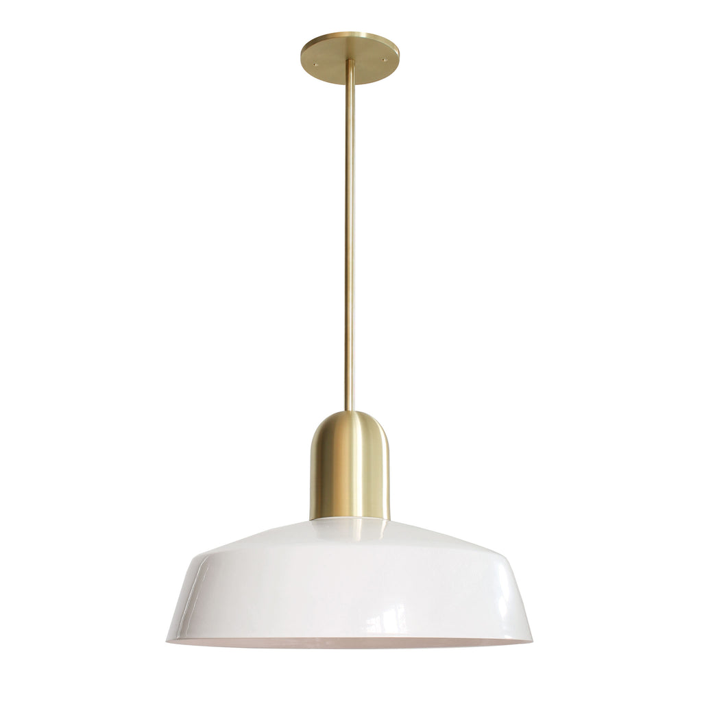 "Meadowlark Luxe Rod Pendant. Shown with 16"" Shade in White + Brass Finish. Cedar and Moss."