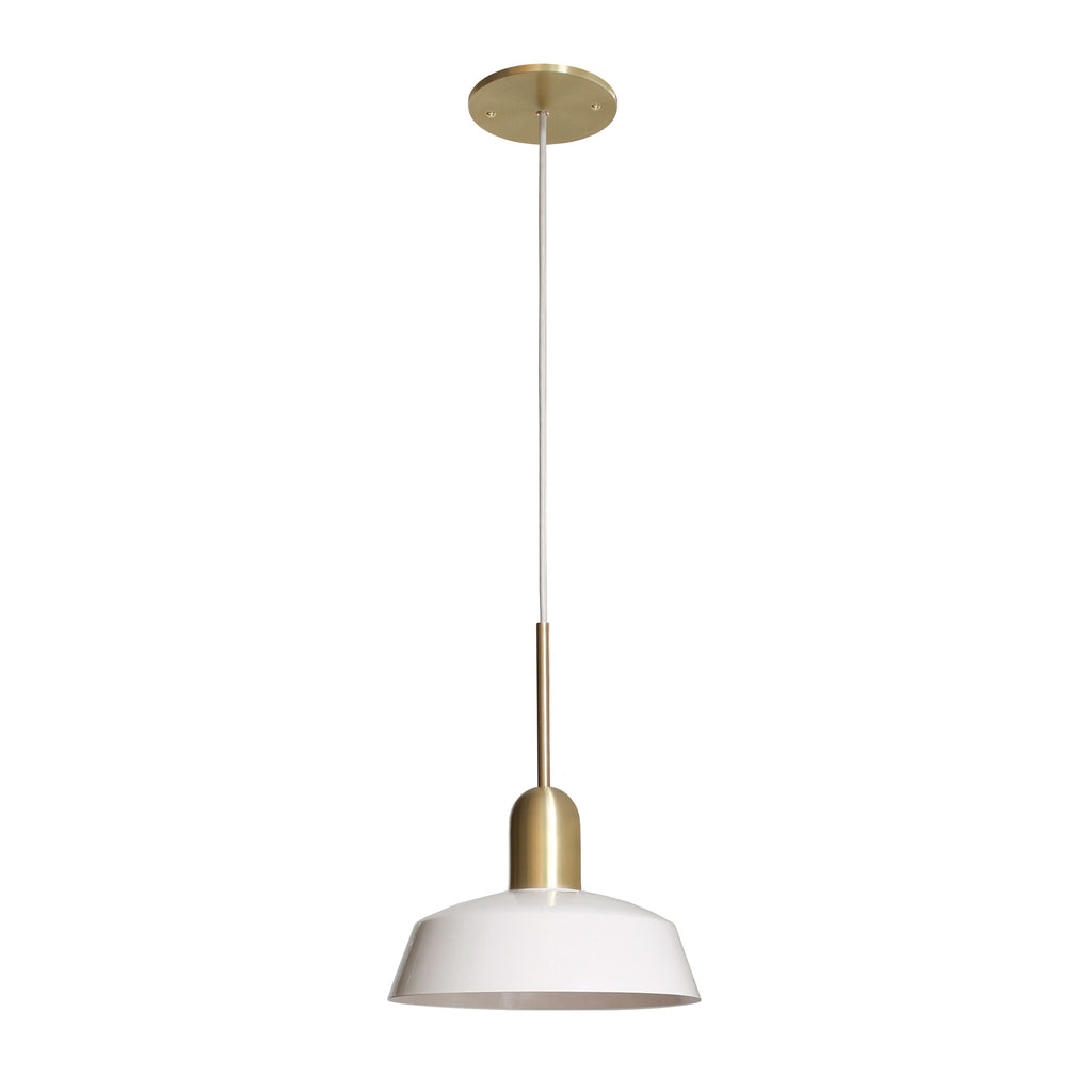 "Meadowlark 11"" Luxe Cord Pendant. Shown in Gloss White and Brass finish. Cedar and Moss."