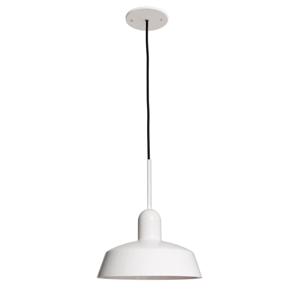 "Meadowlark 11"" Luxe Cord Pendant. Shown in Gloss White finish. Cedar and Moss."