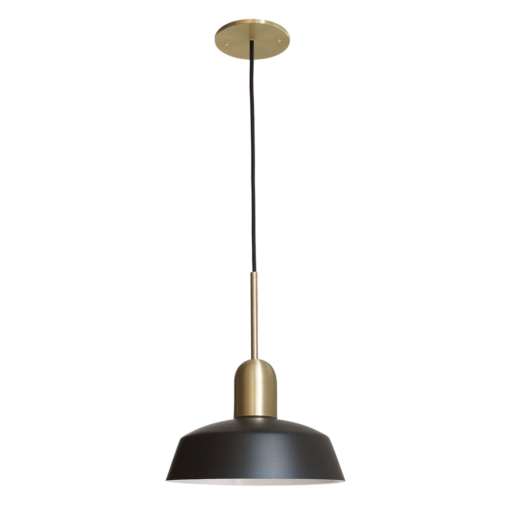 "Meadowlark 11"" Luxe Cord Pendant. Shown in Matte Black and Brass finish. Cedar and Moss."