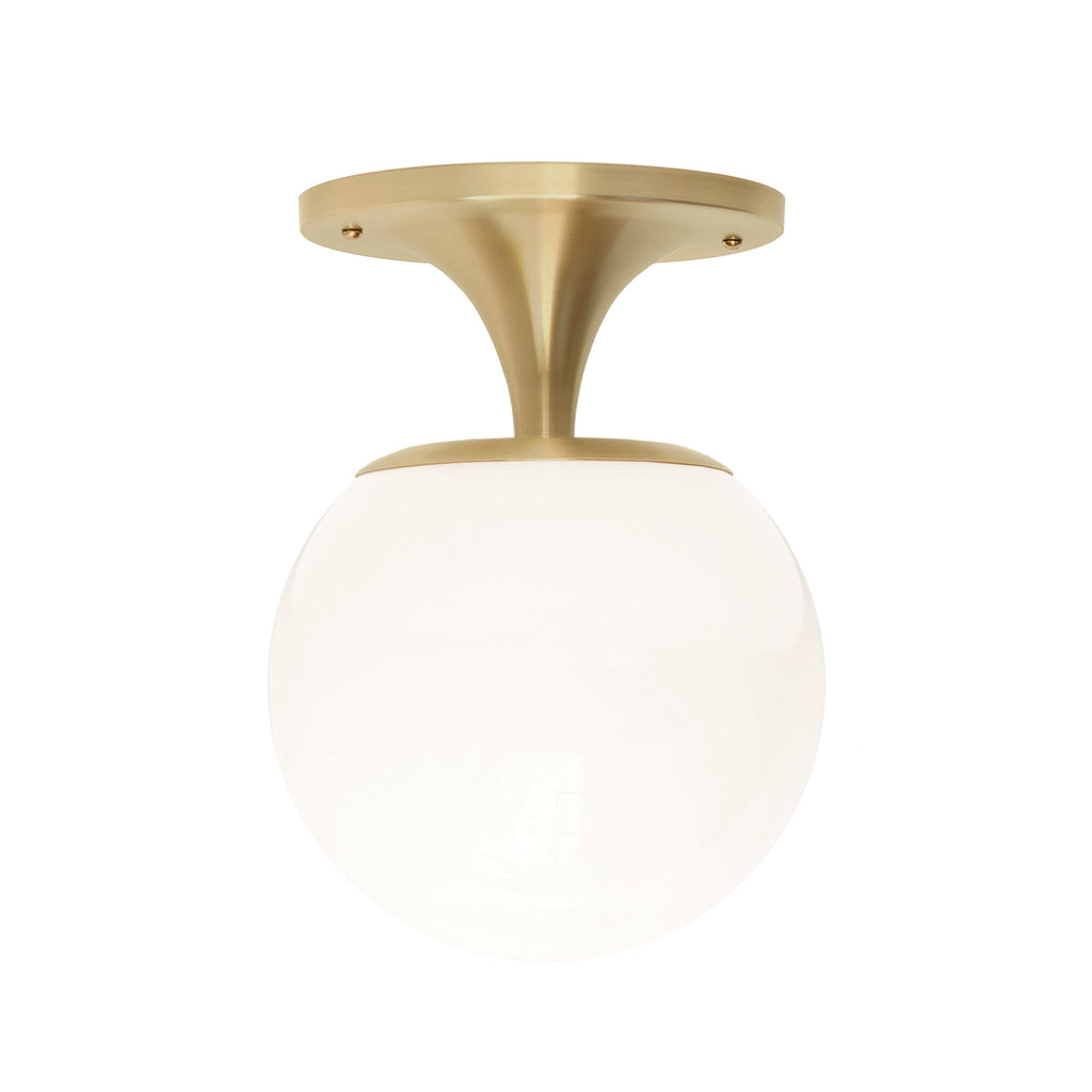 "Cedar and Moss. Moss 8"" Surface or Sconce. Shown in Brass Finish with 8"" Opal Glass."