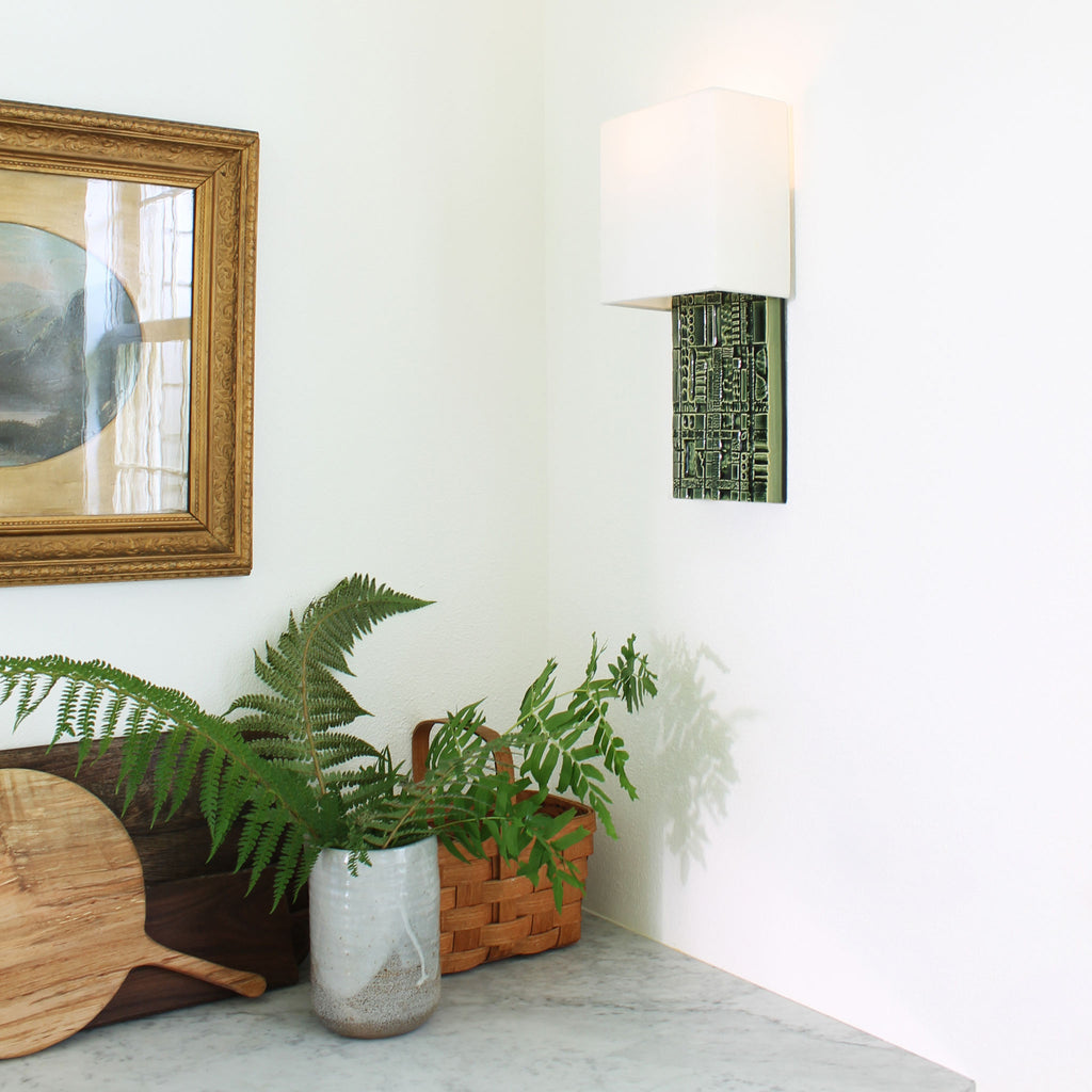 Cedar and Moss. Izzy Sconce. Shown in Green R210 ceramic