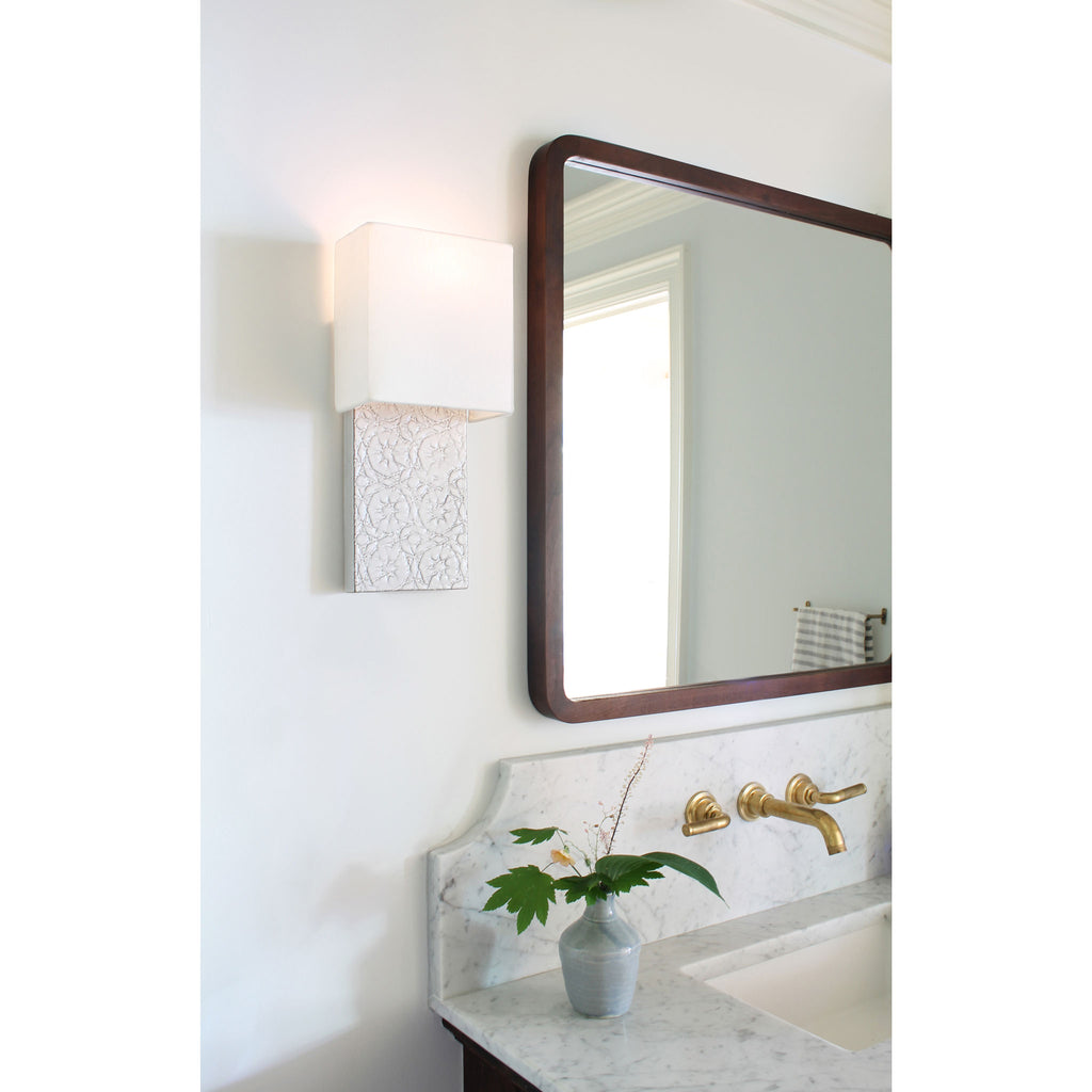 Cedar & Moss. Pratt Sconce. Shown in Brownstone White ceramic
