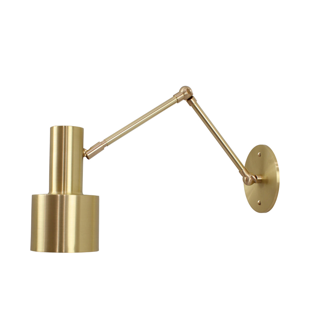 Ridge Double Articulated Sconce. Shown in Brass finish. (A19 light bulb shown, not included). Cedar and Moss.