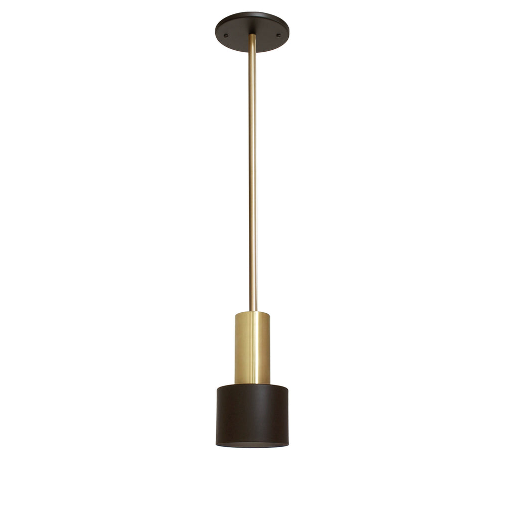 Cedar and Moss. Ridge Rod Pendant. Shown in Matte Black + Brass finish.