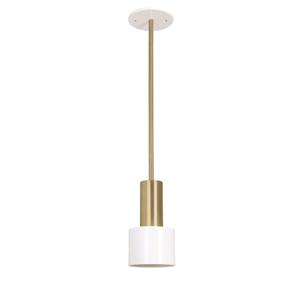 Cedar and Moss. Ridge Rod Pendant. Shown in White + Brass finish.