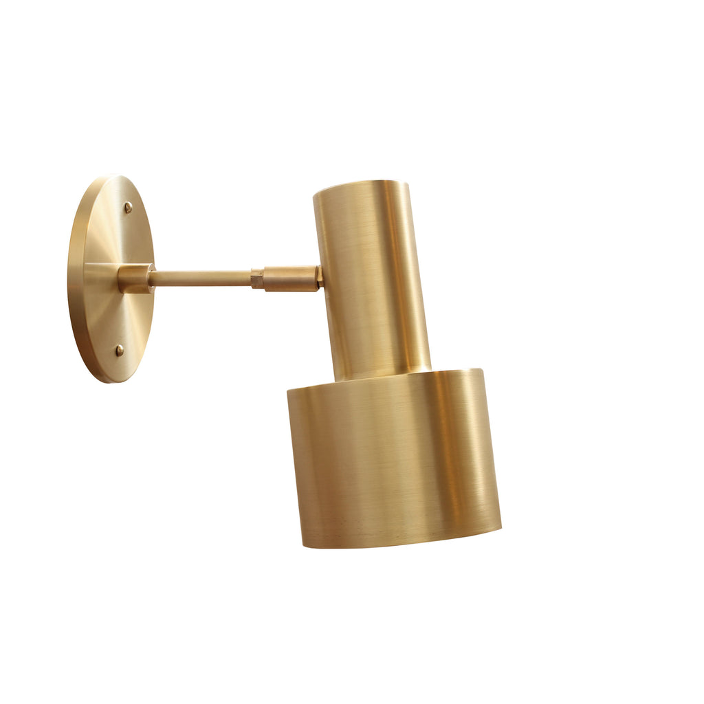"Cedar and Moss. Ridge Wall Sconce. Shown in Brass finish with 3"" arm."