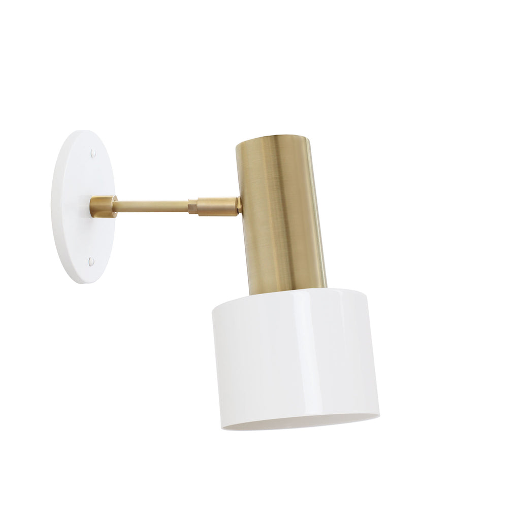 "Ridge Wall Sconce. Shown in Gloss White + Brass finish with 3"" arm. Cedar and Moss."