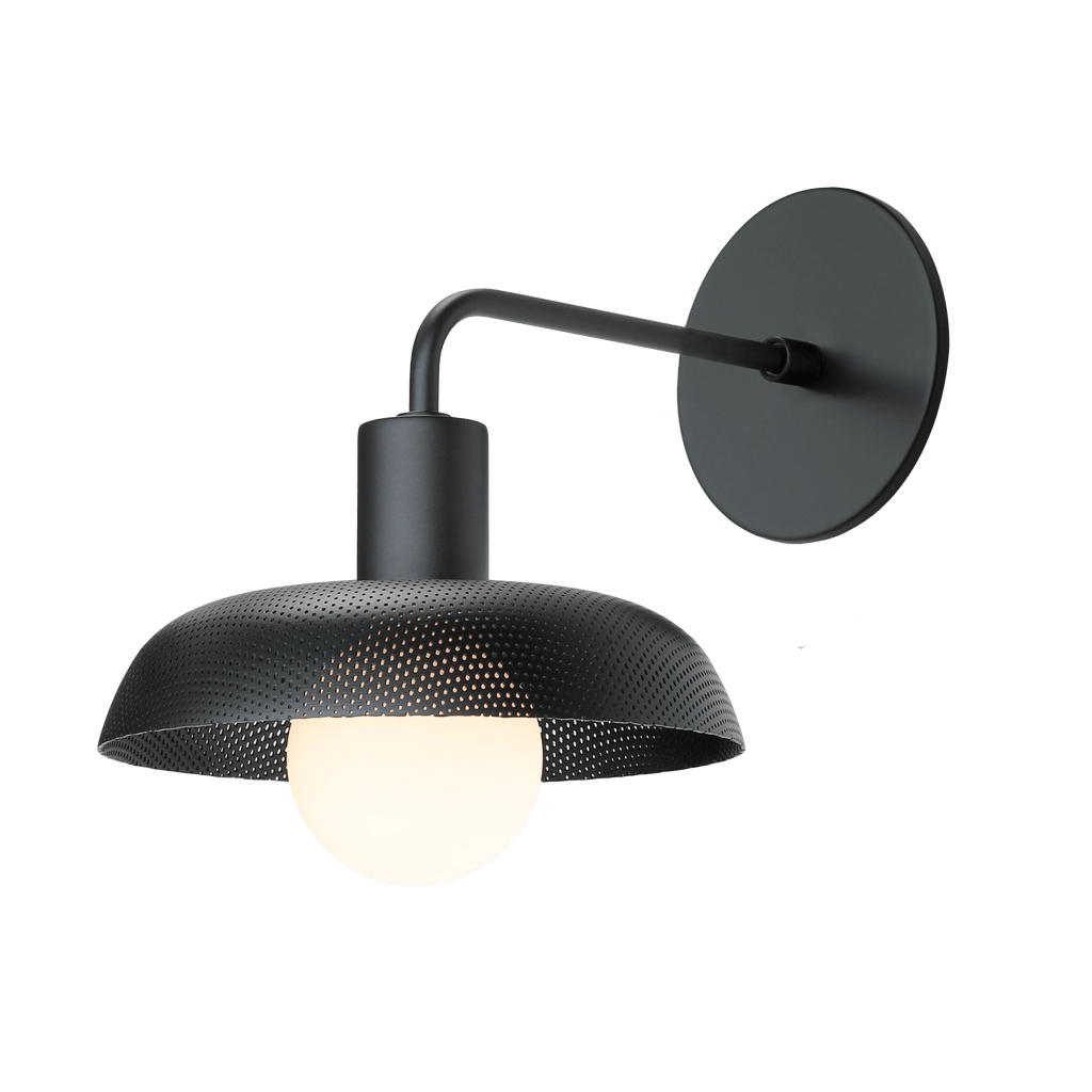 Sally Sconce with perforated shade. Shown in Matte Black finish. (G25 Tala light bulb shown, not included). Cedar and Moss.
