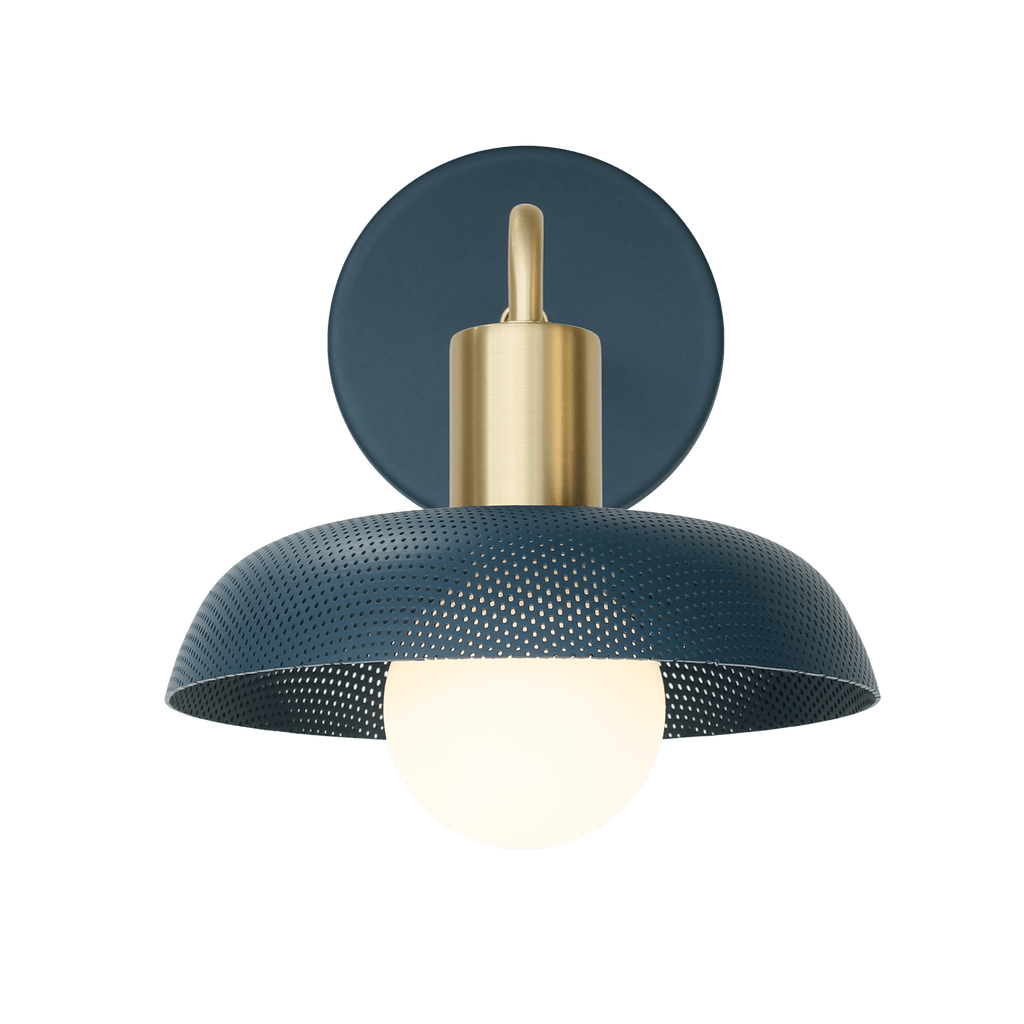Sally Sconce in Ocean Blue + Brass finish. Cedar and Moss.