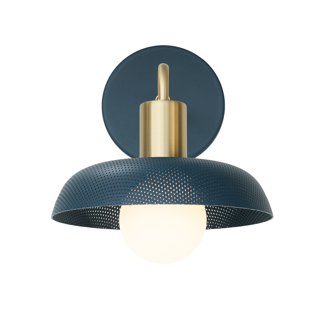 Sally Sconce. Shown with Ocean Blue Perforated Shade + Brass finish. (G25 Tala light bulb shown, not included). Cedar and Moss.