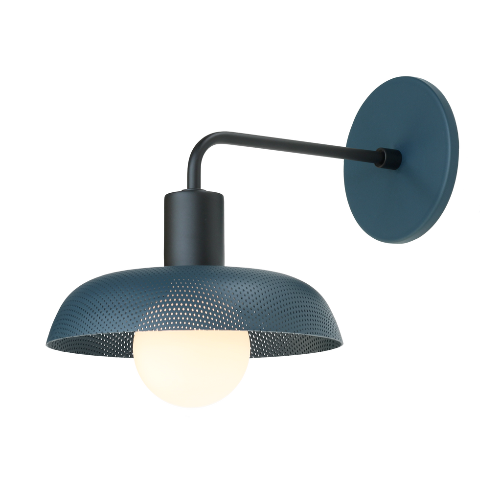 Sally Sconce. Shown with Ocean Blue Perforated Shade + Matte Black finish. (G25 Tala light bulb shown, not included). Cedar and Moss.