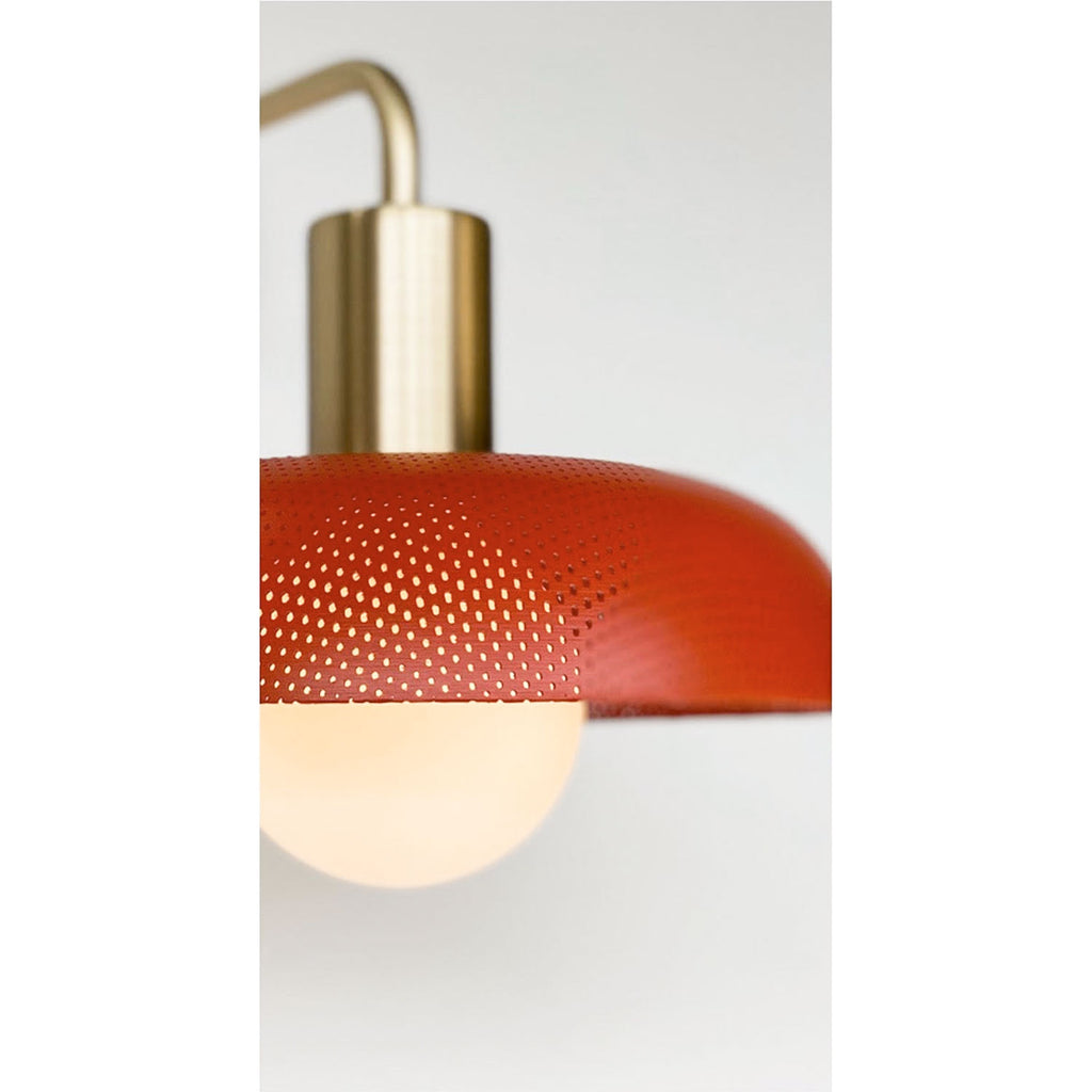 Sally Sconce. Shown with Persimmon Perforated Shade + Brass finish. (G25 Tala light bulb shown, not included). Cedar and Moss.