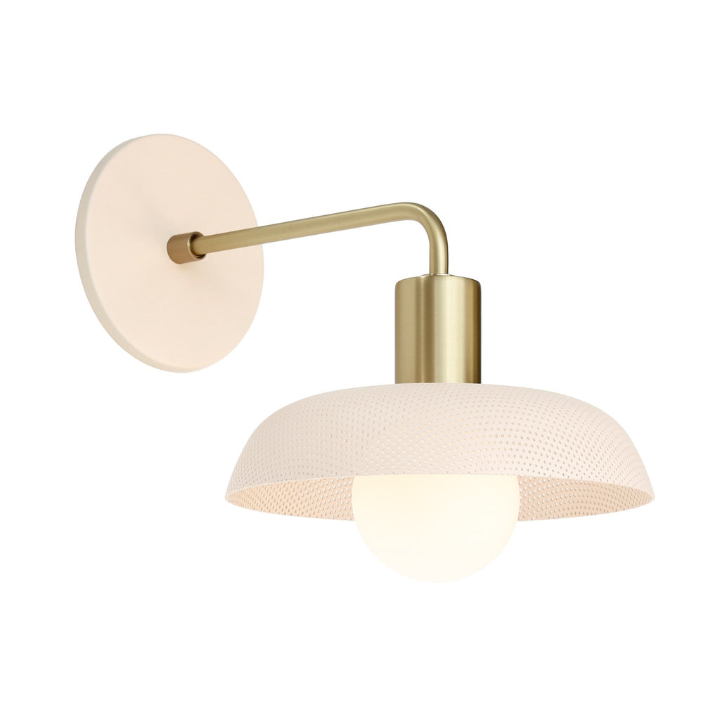 Sally Sconce with perforated shade. Shown in Blush + Brass finish. (G25 Tala light bulb shown, not included). Cedar and Moss.