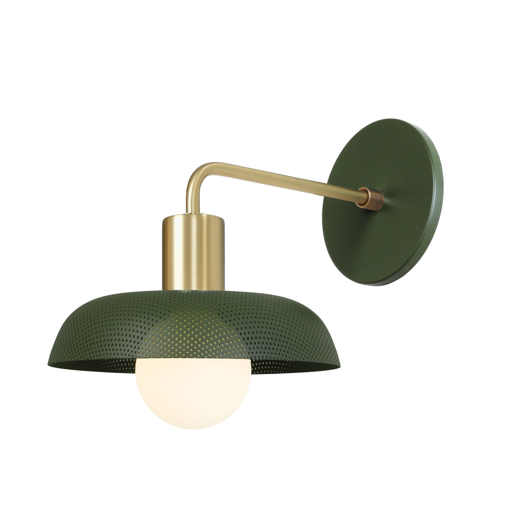 Sally Sconce. Shown with Secret Garden Green Perforated Shade + Brass finish. (G25 Tala light bulb shown, not included). Cedar and Moss.