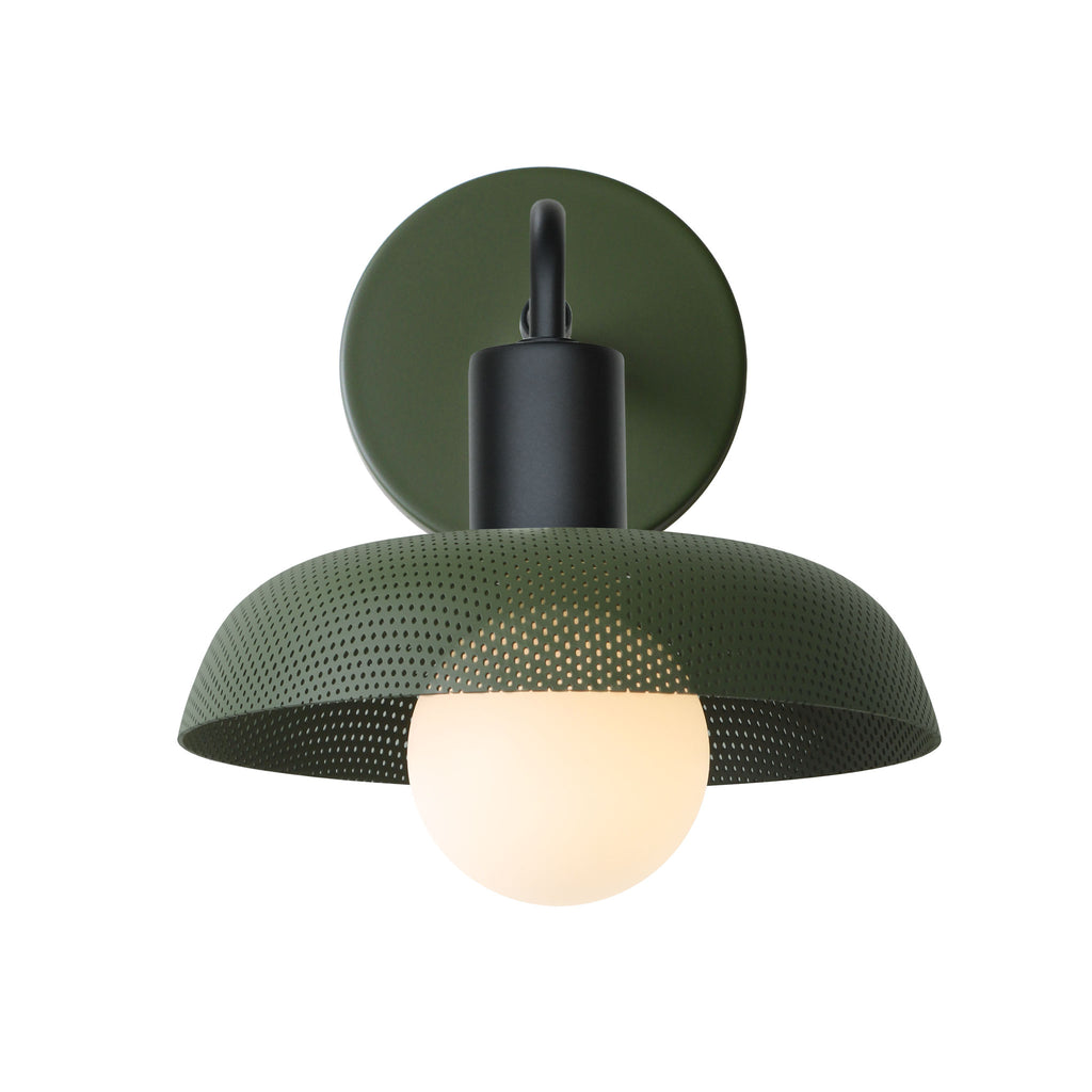 Sally Sconce. Shown with Secret Garden Green Perforated Shade + Matte Black finish. (G25 Tala light bulb shown, not included). Cedar and Moss.
