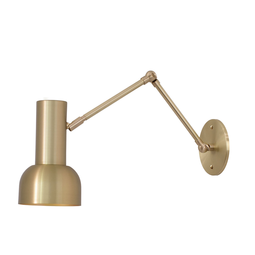 Scout Double Articulated. Shown in Brass finish. (G19 light bulb photographed, not included). Cedar and Moss.