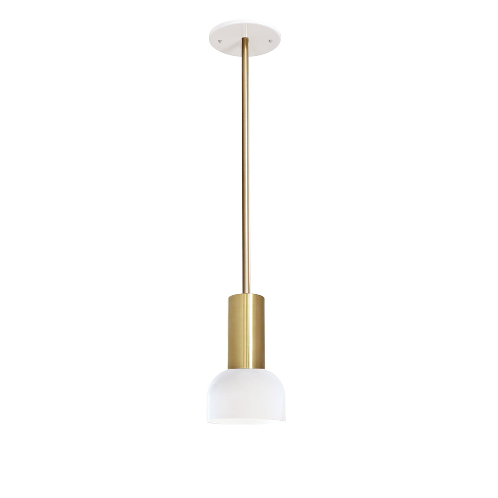 Scout Rod Pendant. Shown in White and Brass finish. Cedar and Moss.