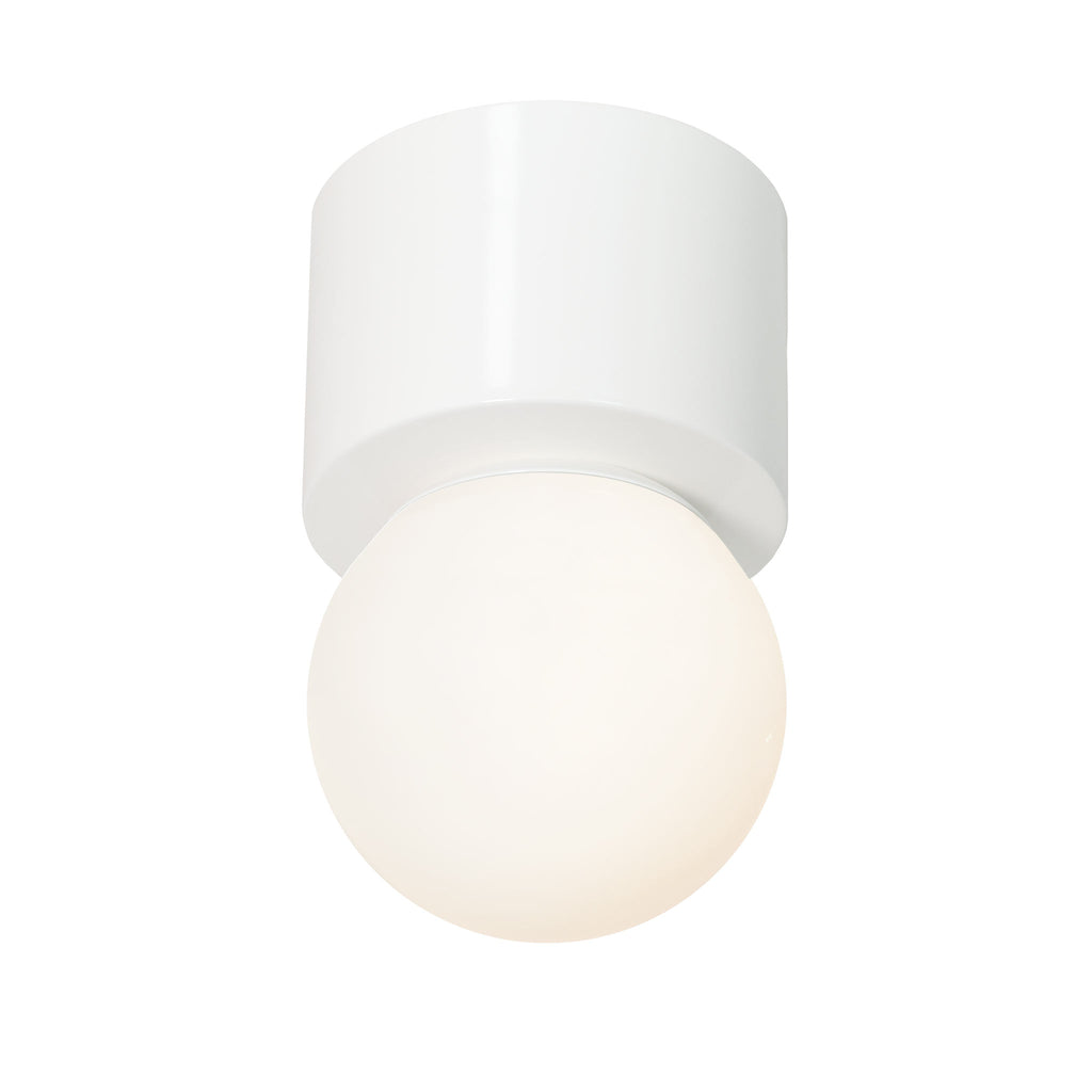"Sonya Wall Sconce or Ceiling Surface Mount with 6"" Glass Globe. Shown in Gloss White finish. (G16 LED bulb included). Cedar and Moss."