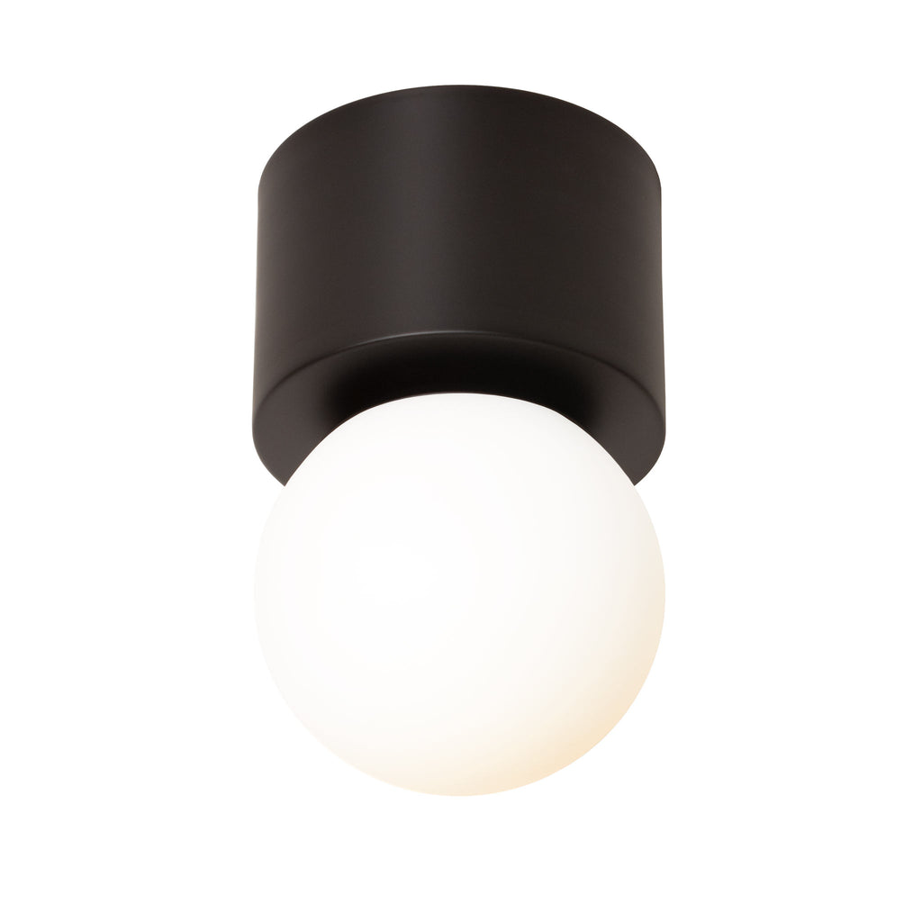 "Sonya Wall Sconce or Ceiling Surface Mount with 6"" Glass Globe. Shown in Matte Black finish. (G16 LED bulb included). Cedar and Moss."