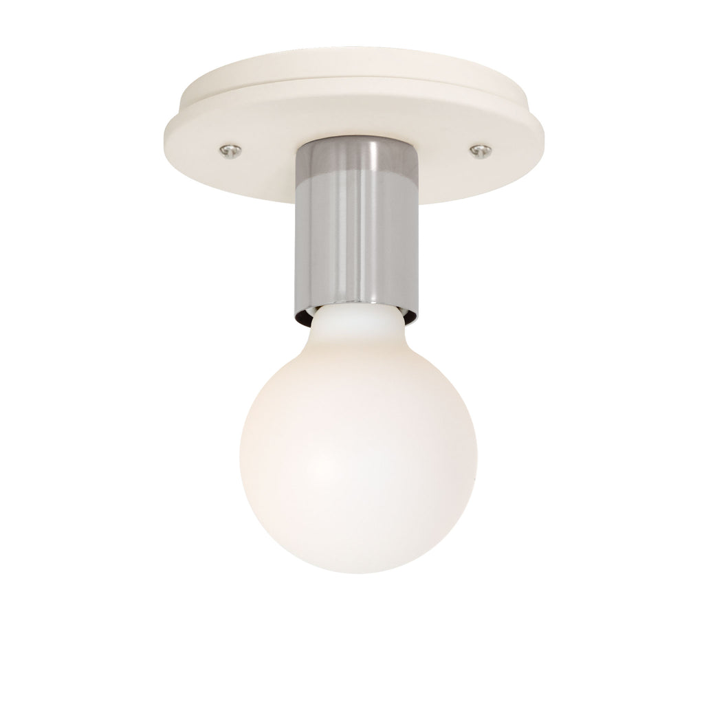 Swift Surface or Sconce. Shown with Polished Nickel metal socket cup and Ceramic Bone canopy. (G25 Tala light bulb shown, not included). Cedar and Moss.